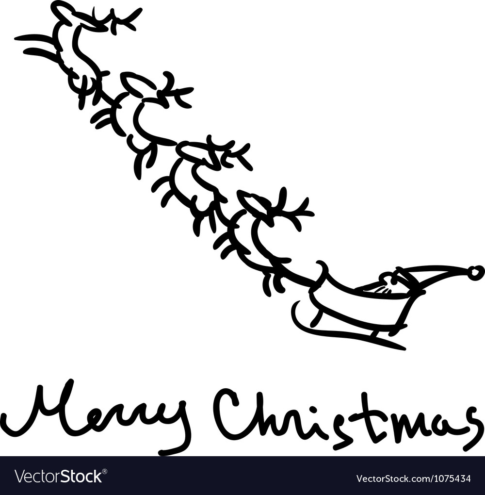 Santa s sleigh sketch vector | Price: 1 Credit (USD $1)