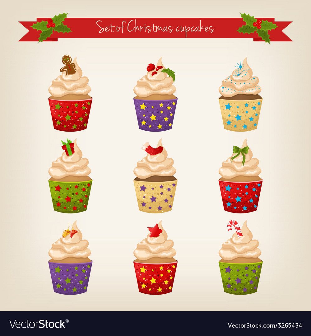 Set of cute hipster christmas cupcakes vector | Price: 1 Credit (USD $1)