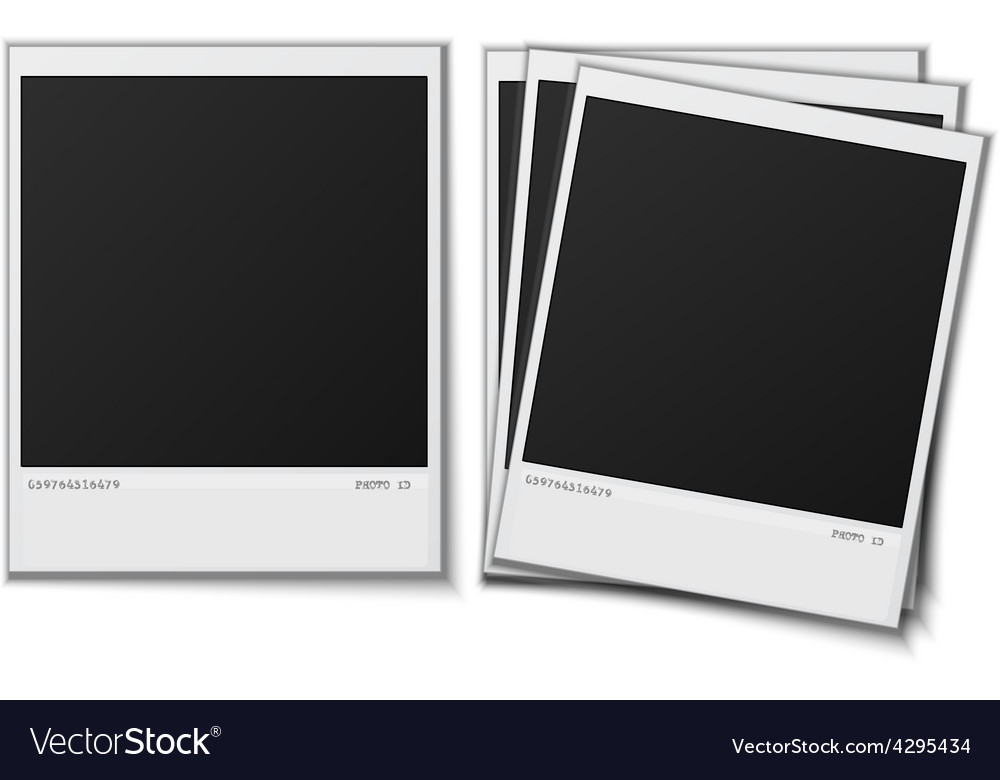 Set polaroid photo frames on white background vector | Price: 1 Credit (USD $1)