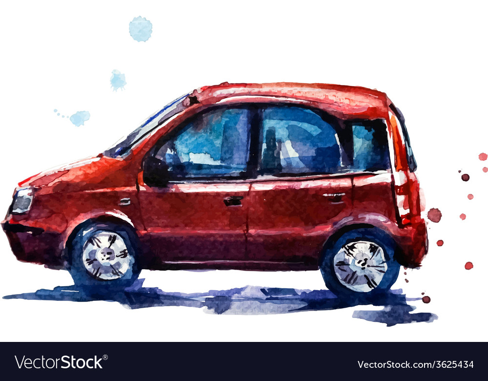 Watercolor red car vector | Price: 1 Credit (USD $1)