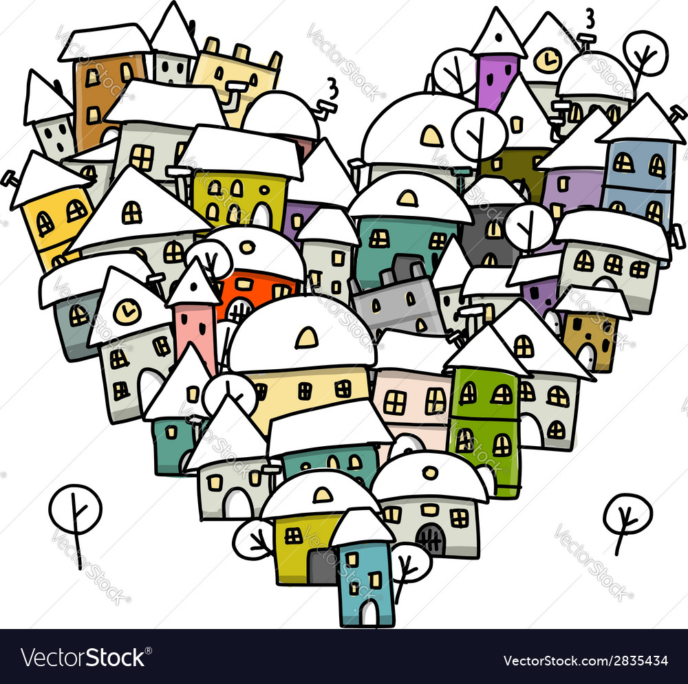 Winter city of love heart shape sketch for your vector | Price: 1 Credit (USD $1)