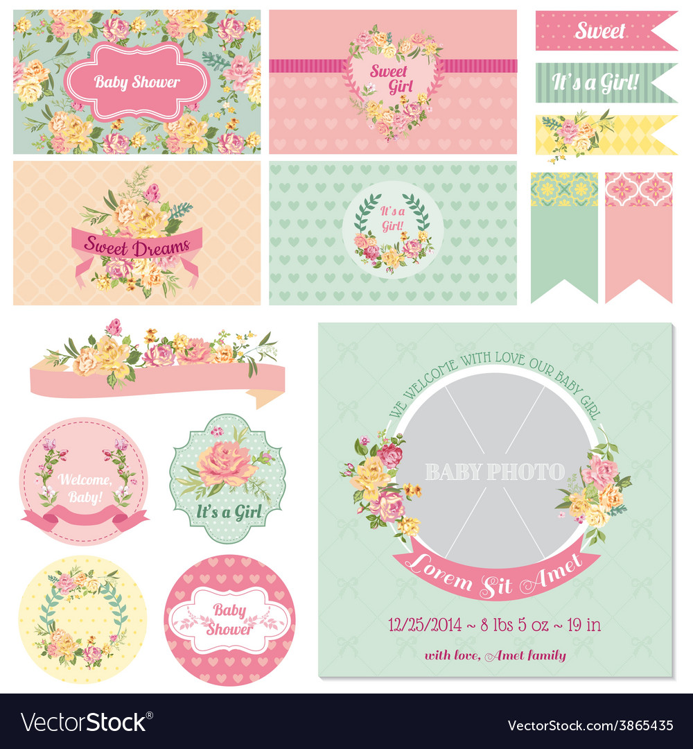 Baby shower flower theme vector | Price: 1 Credit (USD $1)