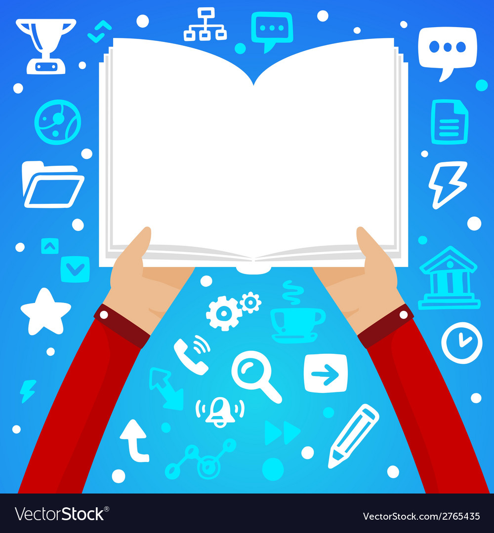 Bright male hand holds open book on a blue b vector | Price: 1 Credit (USD $1)