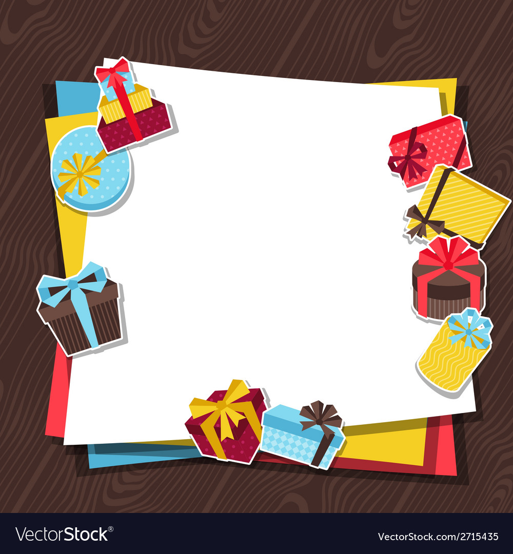 Celebration background or card with sticker gift vector | Price: 1 Credit (USD $1)