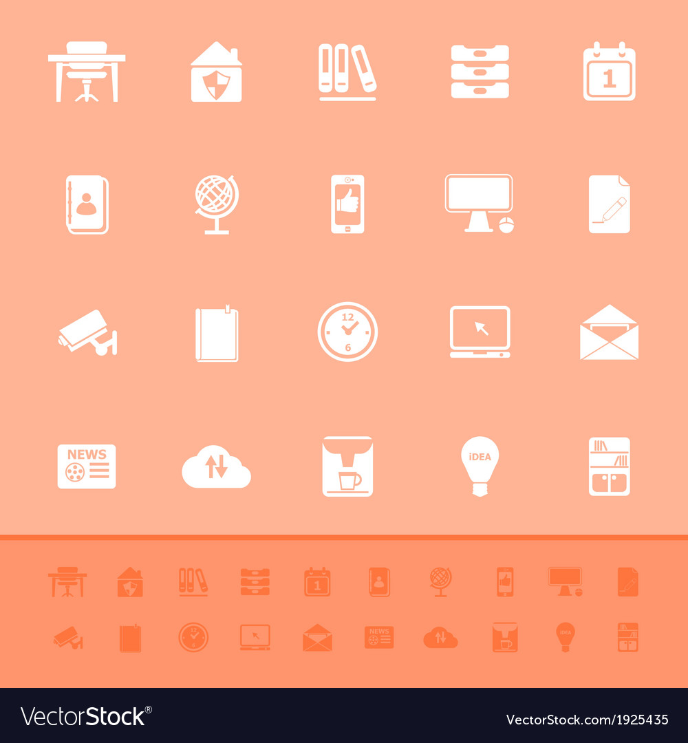 Home office color icons on orange background vector | Price: 1 Credit (USD $1)
