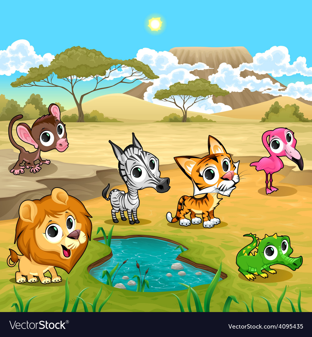 Set of funny wild animals in the nature vector | Price: 3 Credit (USD $3)