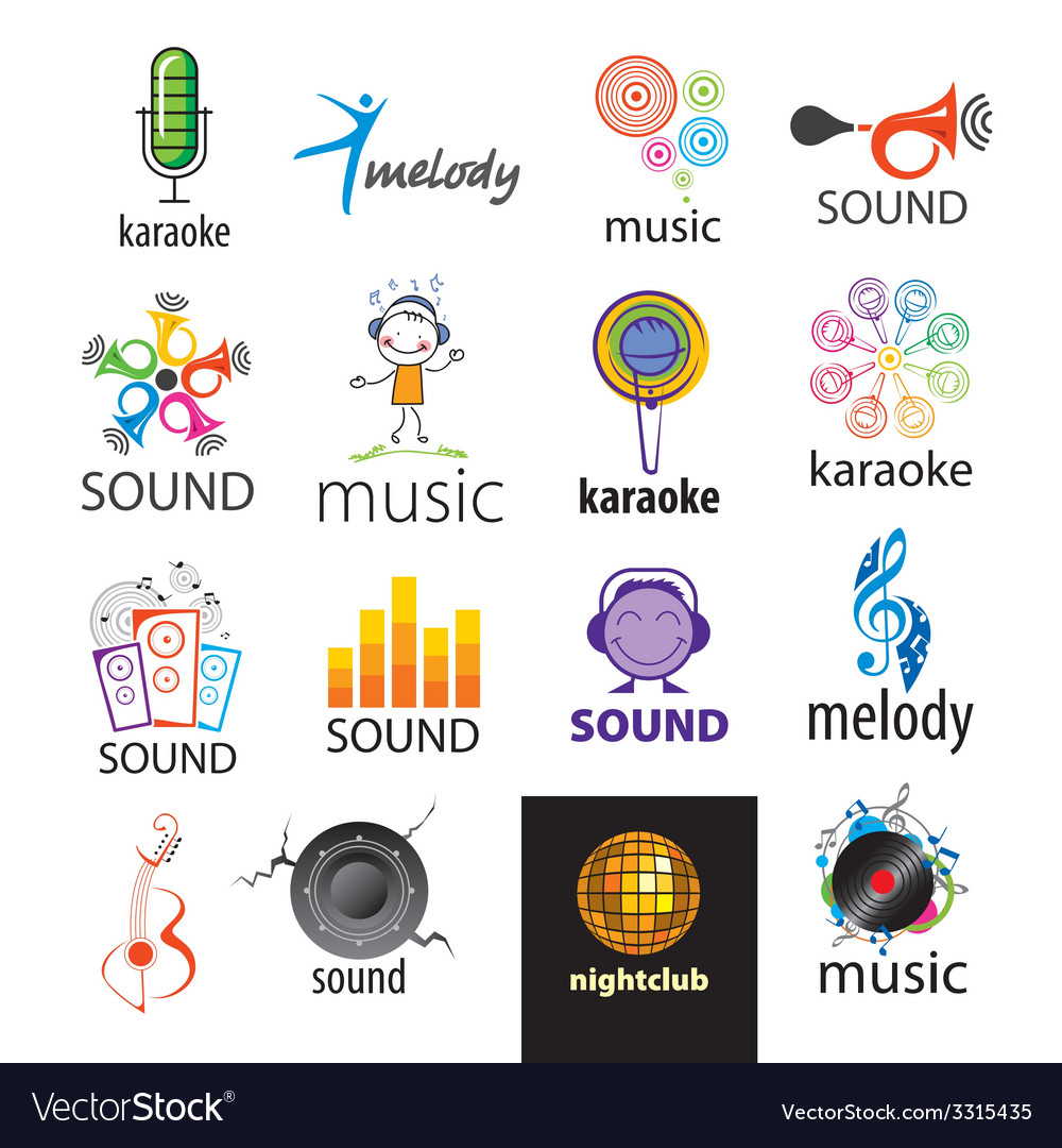 Set of logos music and sounds vector | Price: 1 Credit (USD $1)