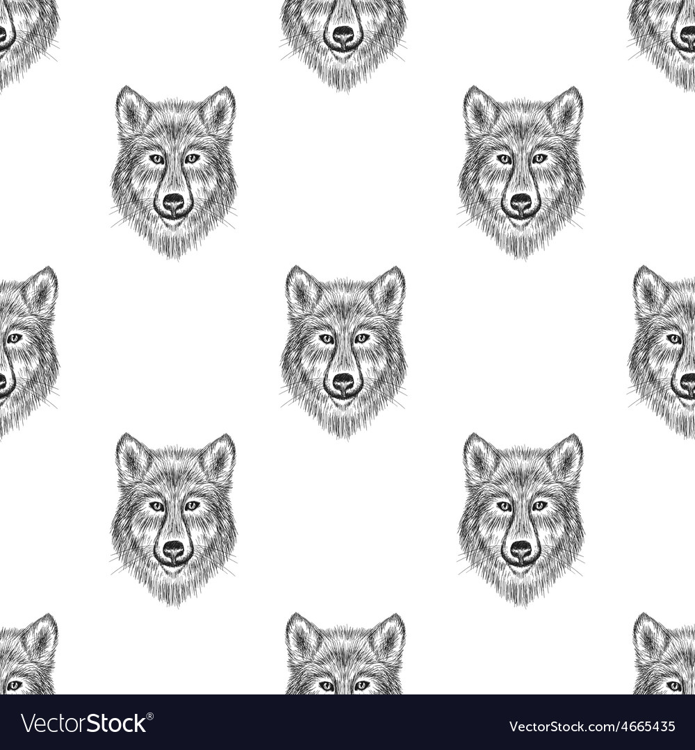 Sketch wolf seamless pattern hand drawn vector | Price: 1 Credit (USD $1)