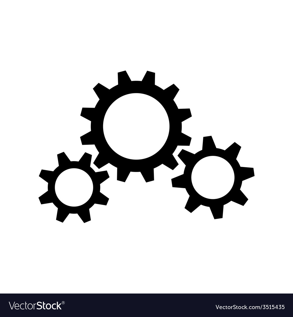 Three black gear wheels vector | Price: 1 Credit (USD $1)