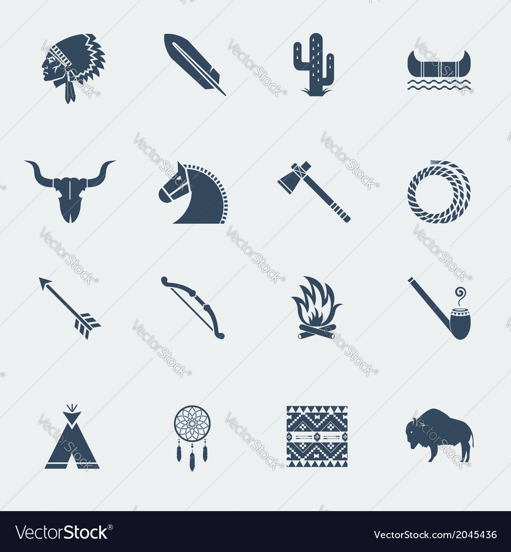 American native indians icons isoated vector | Price: 1 Credit (USD $1)