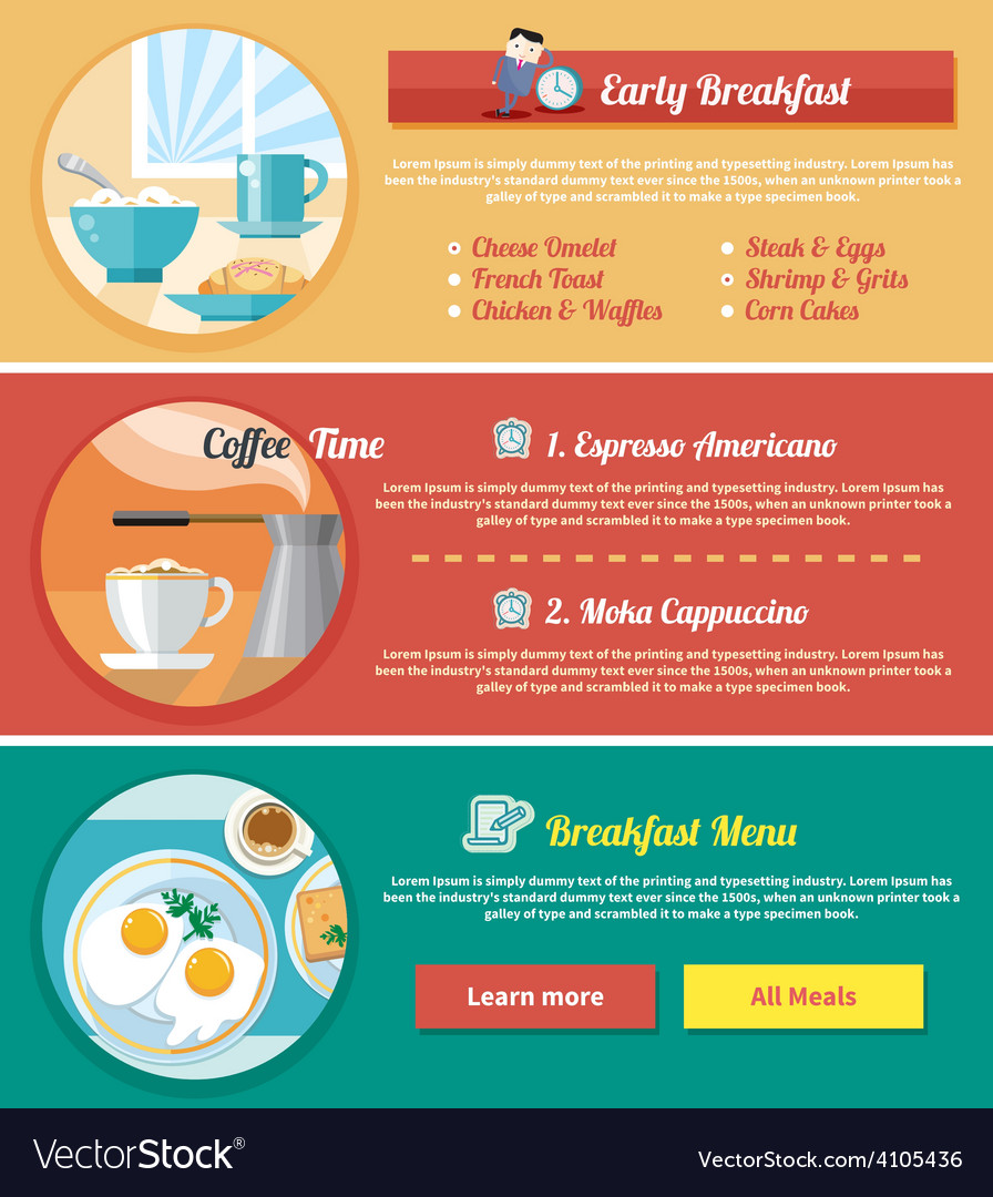 Breakfast time concept icons vector | Price: 1 Credit (USD $1)
