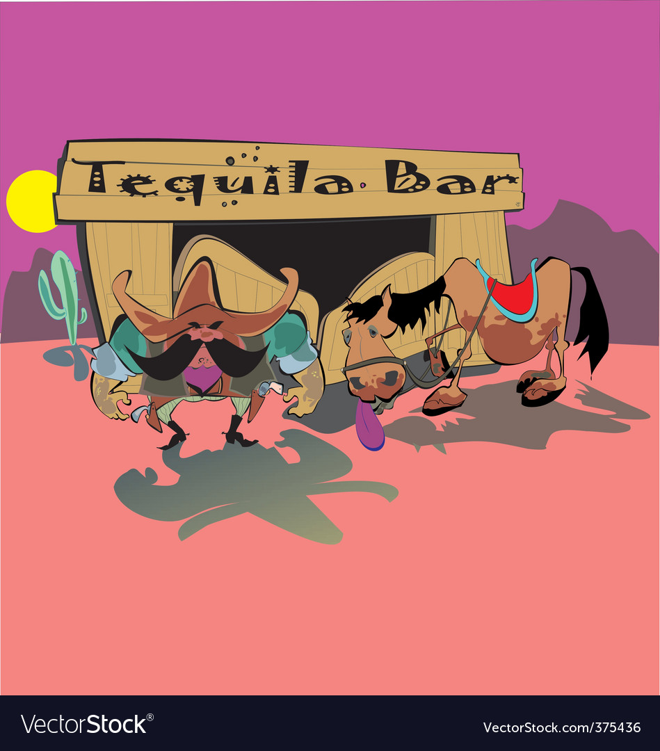 Cowboys tequila bar vector | Price: 3 Credit (USD $3)