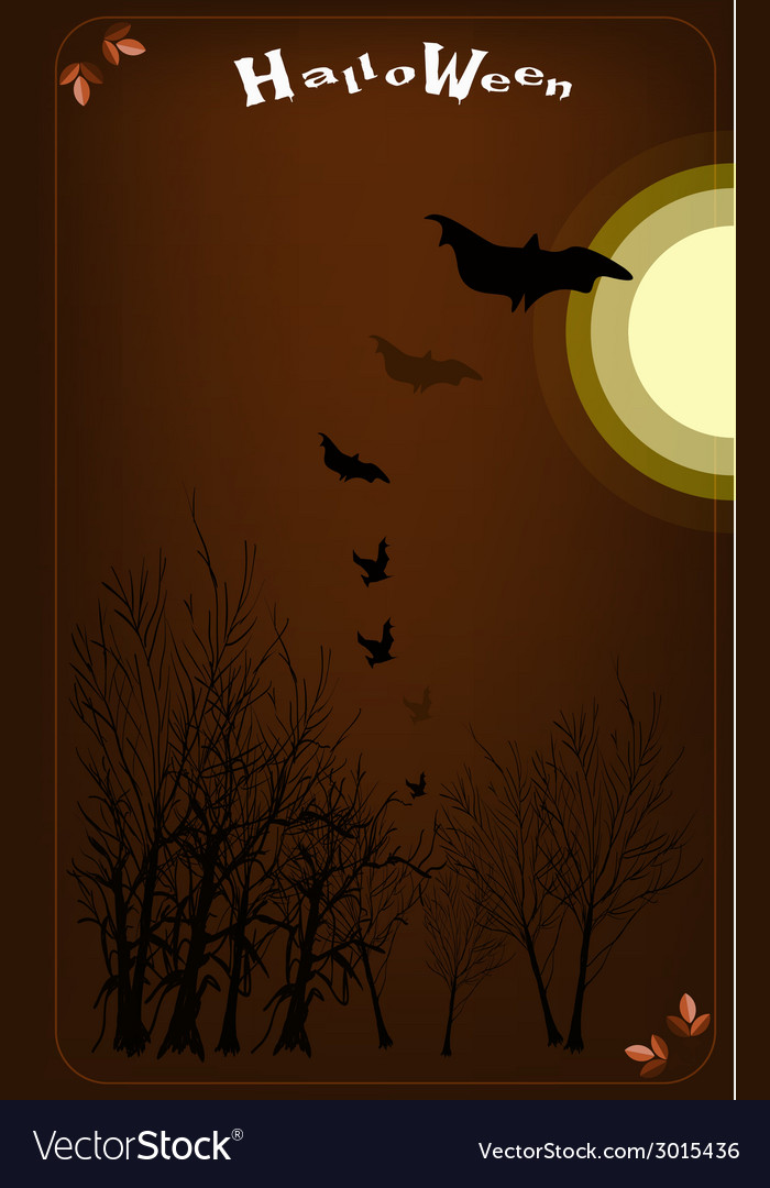 Dark forest in a full moon night background vector | Price: 1 Credit (USD $1)
