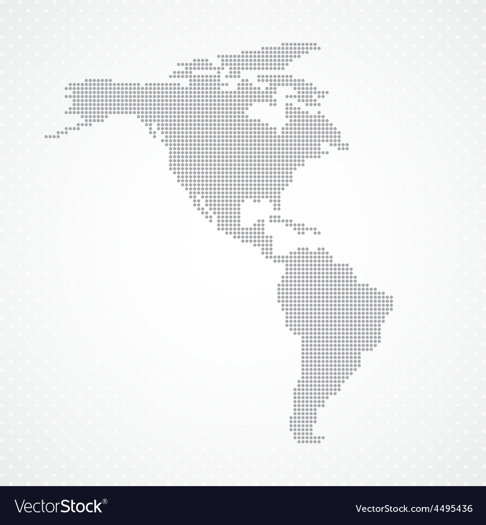 Dots grey north and south america map background vector | Price: 1 Credit (USD $1)