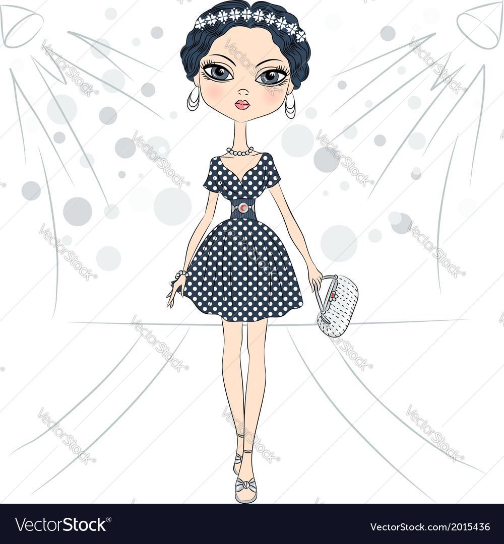 Fashion girl top model on the catwalk vector | Price: 1 Credit (USD $1)