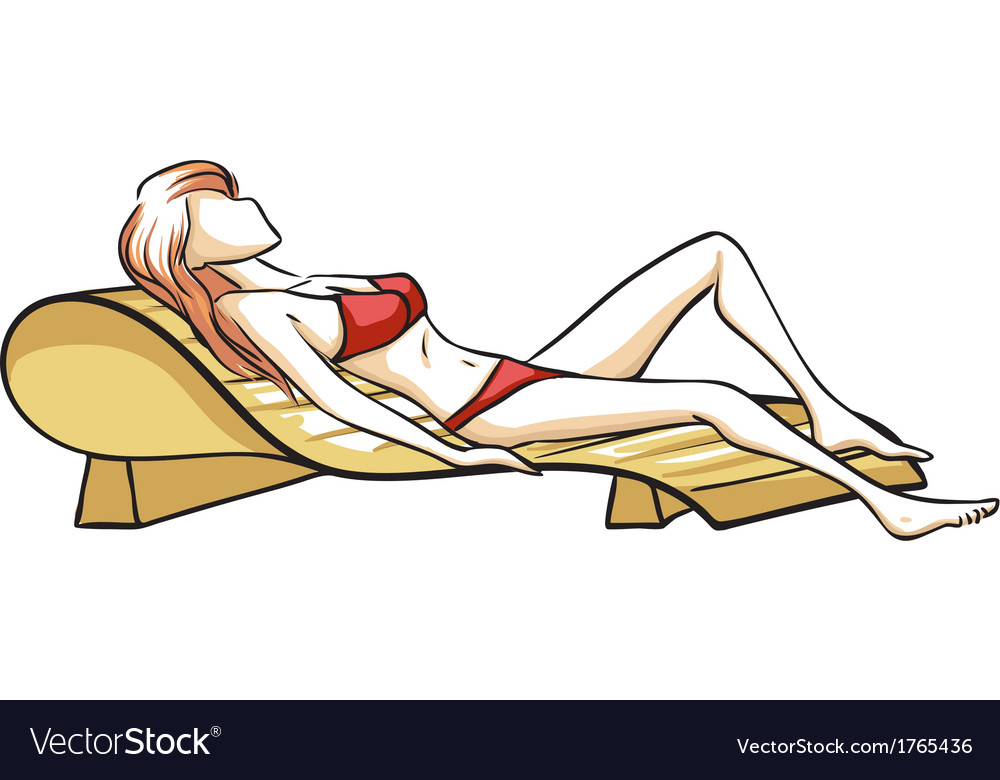 Girl on chaise longue vector | Price: 1 Credit (USD $1)