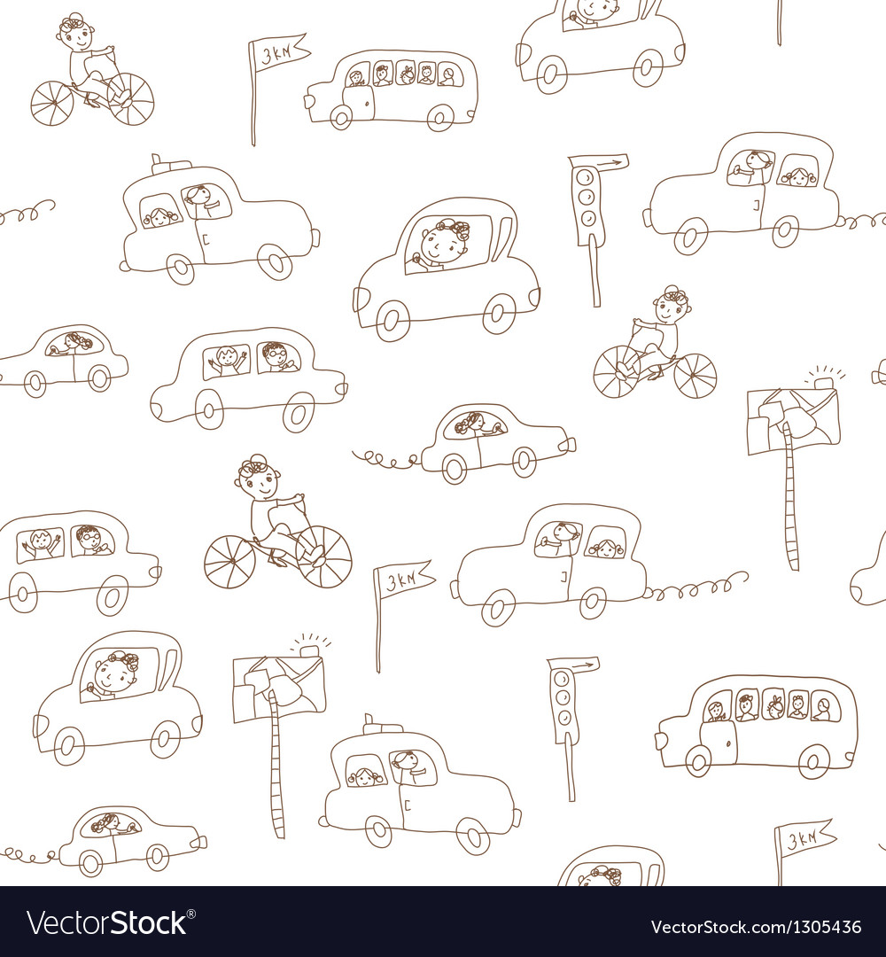 Kids and cars seamless pattern vector | Price: 1 Credit (USD $1)