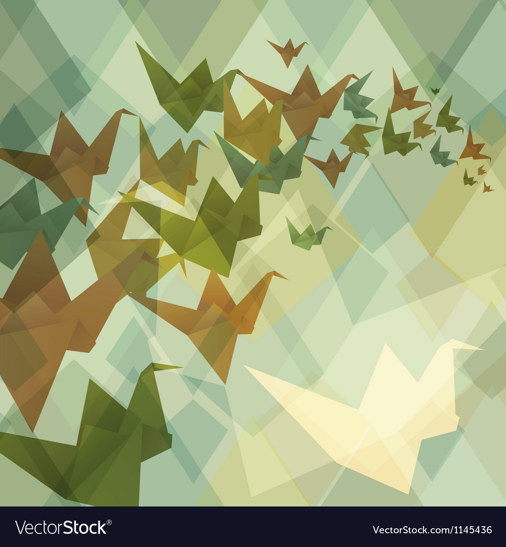 Origami paper birds geometric retro background vector | Price: 1 Credit (USD $1)