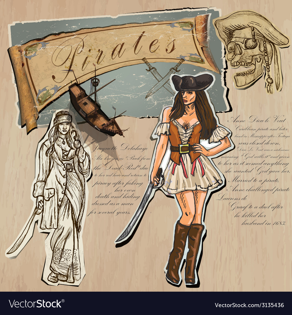 Pirates - women hand drawn and mixed media vector | Price: 1 Credit (USD $1)