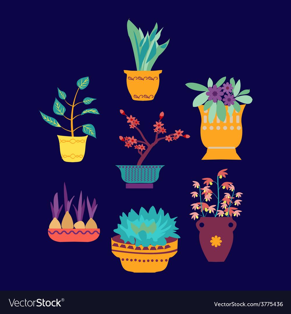 Plant on pot botanical set vector   Price: 1 Credit (USD $1)