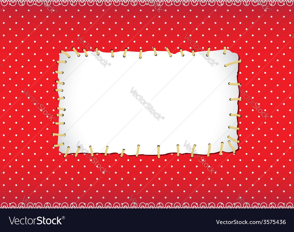 Polka dot frame with stitched patch vector | Price: 1 Credit (USD $1)