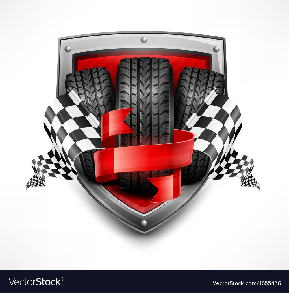 Racing symbols on shield vector | Price: 3 Credit (USD $3)