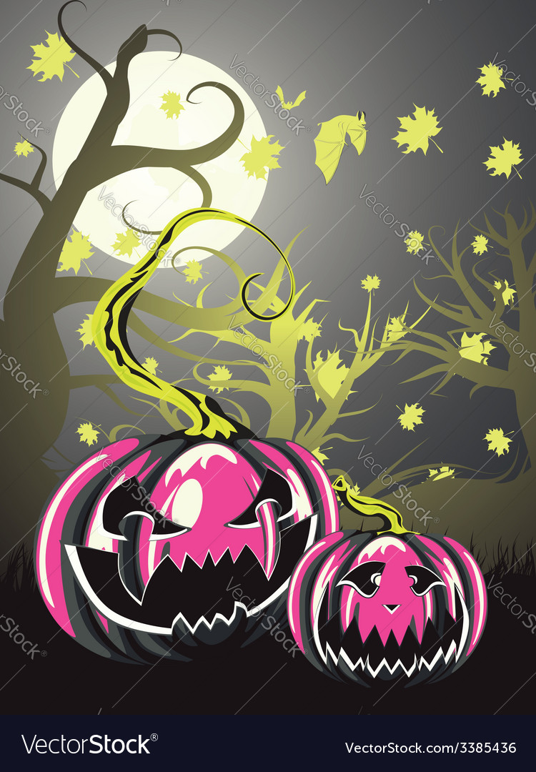 Scary pumpkins in forest4 vector | Price: 1 Credit (USD $1)