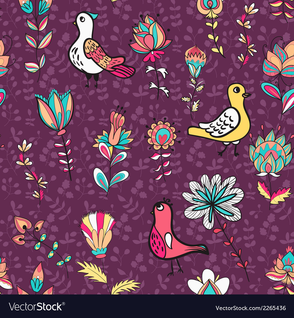 Seamless floral pattern with birds and flowers vector | Price: 1 Credit (USD $1)