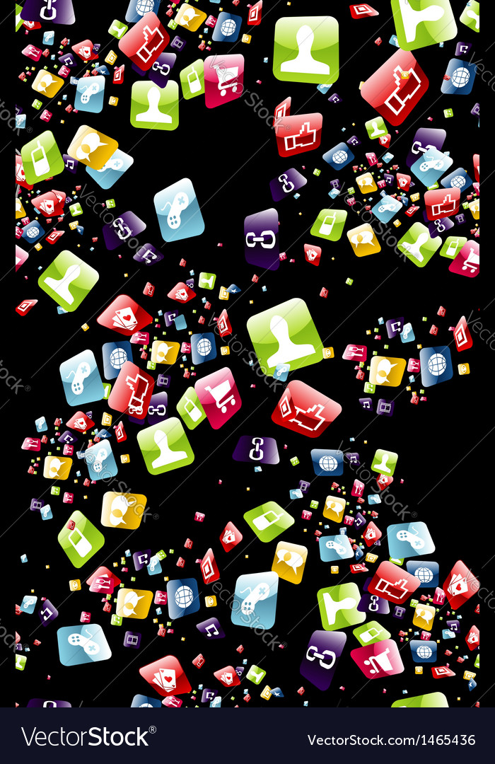 Smart phone apps pattern vector | Price: 1 Credit (USD $1)