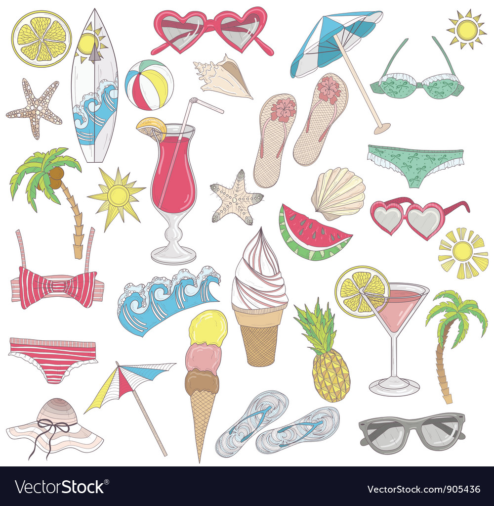 Summer beach elements set vector | Price: 3 Credit (USD $3)