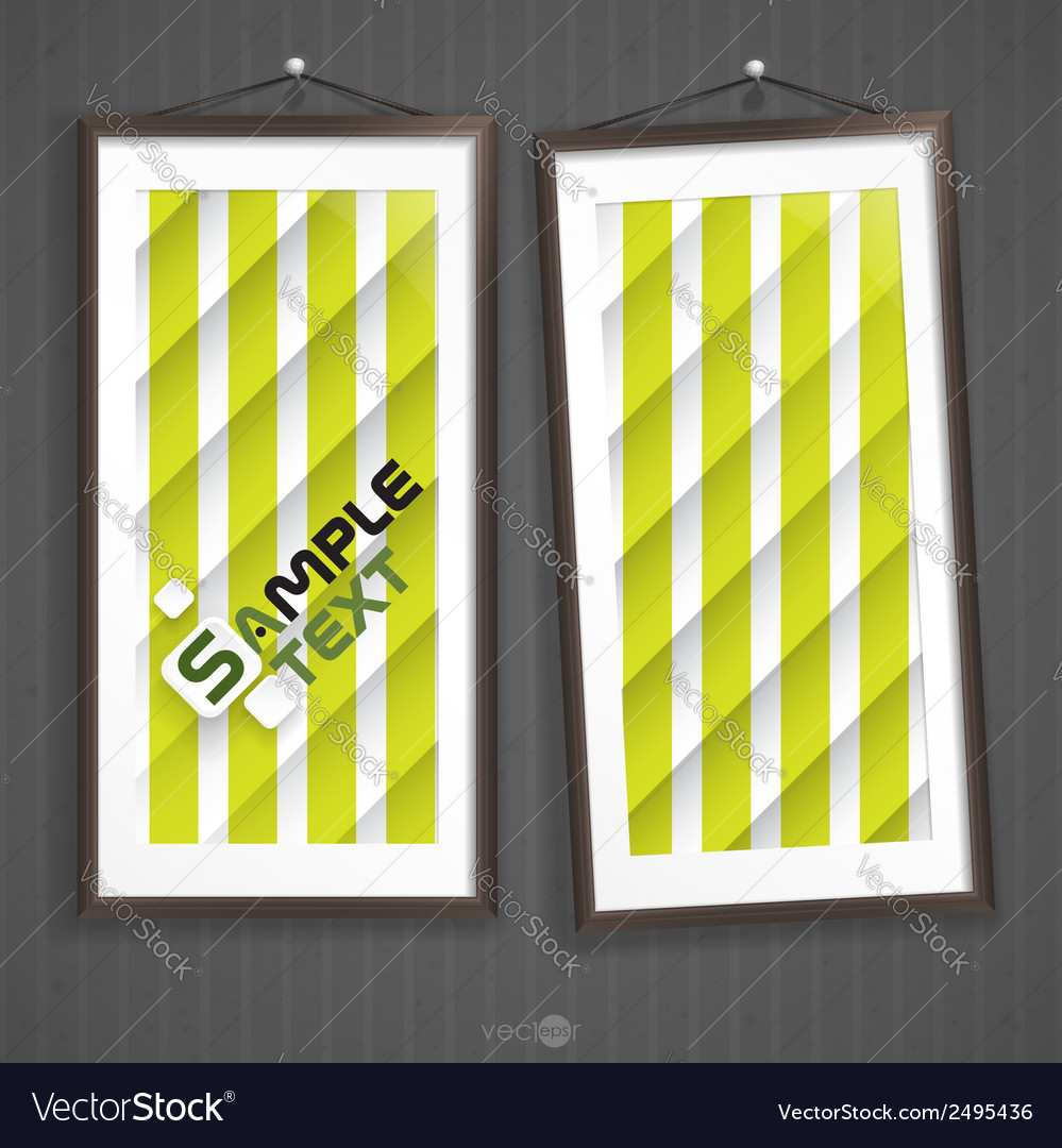 Two frames of picture on a striped old wall vector | Price: 1 Credit (USD $1)