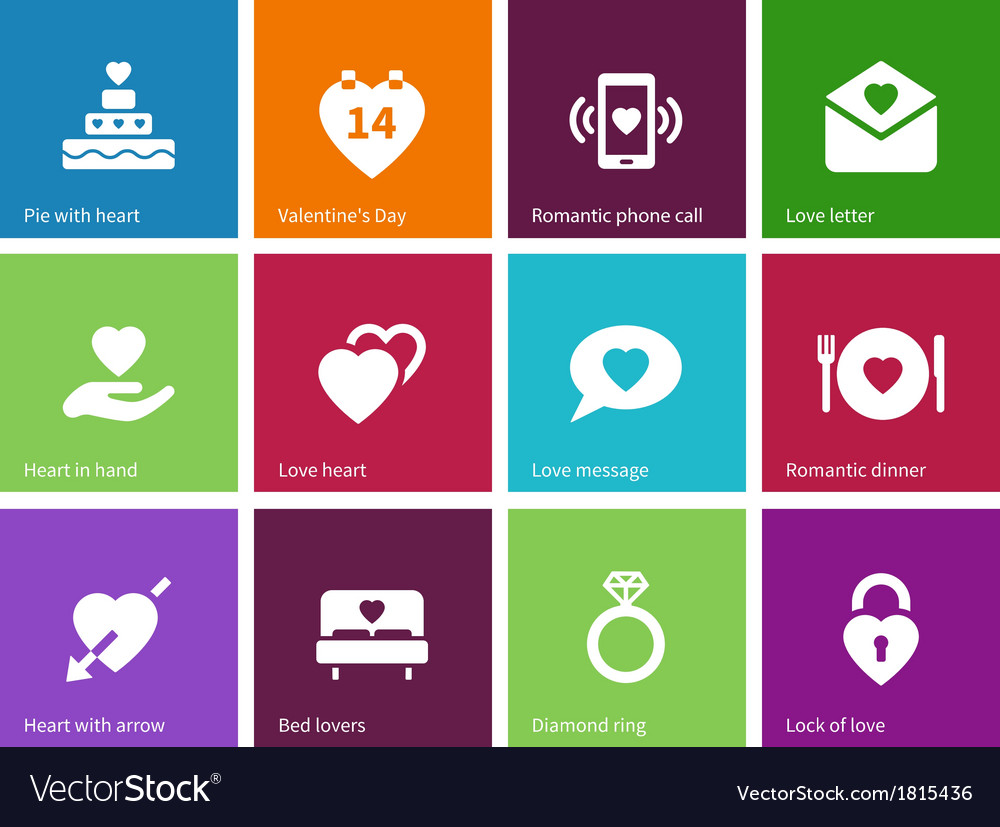Valentines day icons on color background vector | Price: 1 Credit (USD $1)