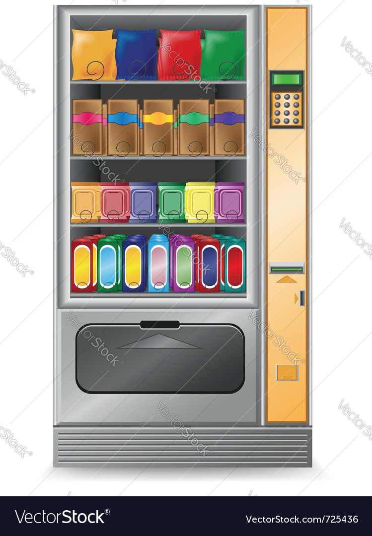 Vending snack is a machine isolated on white backg vector | Price: 3 Credit (USD $3)