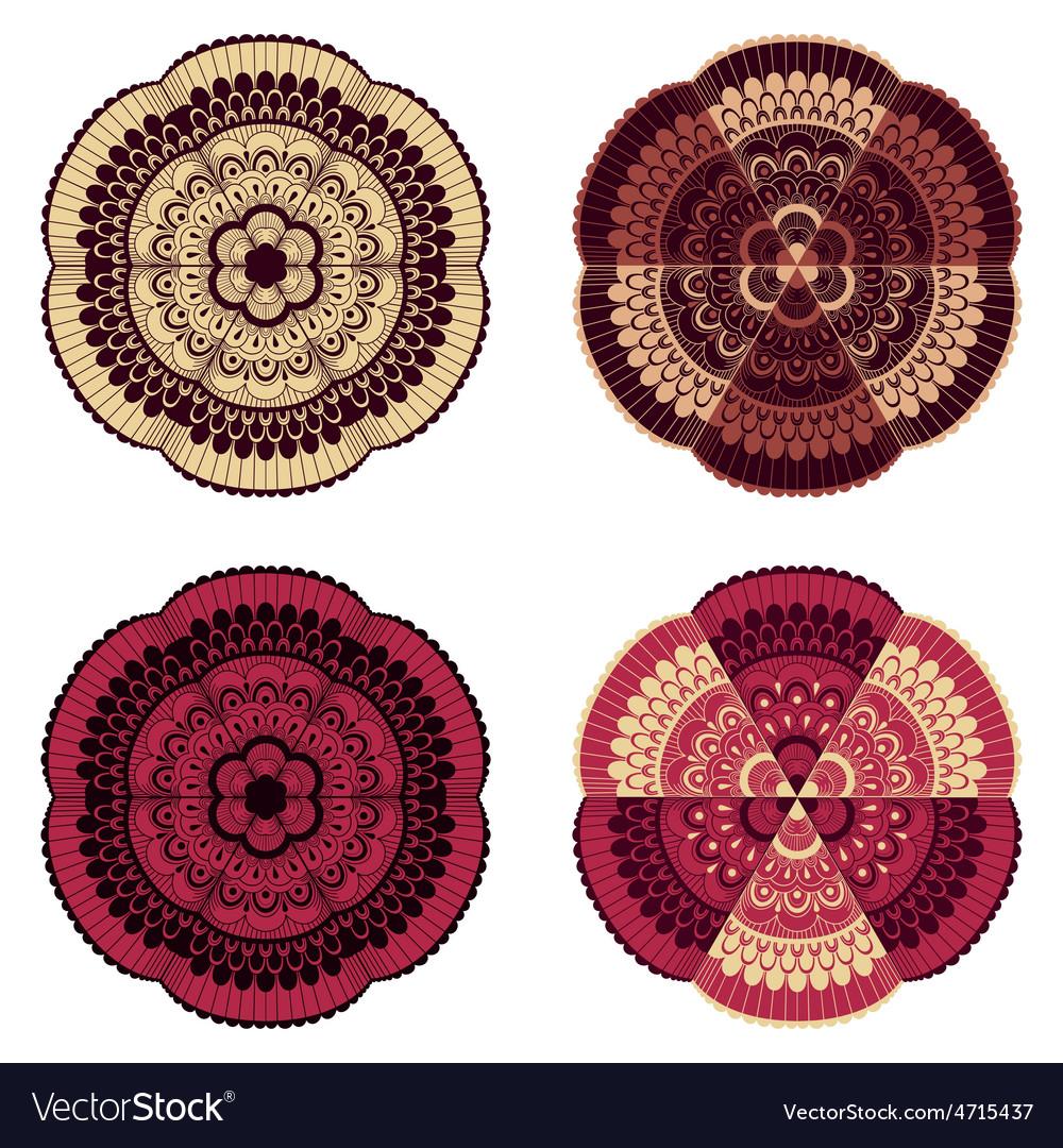 4 doodle floral design elements vector