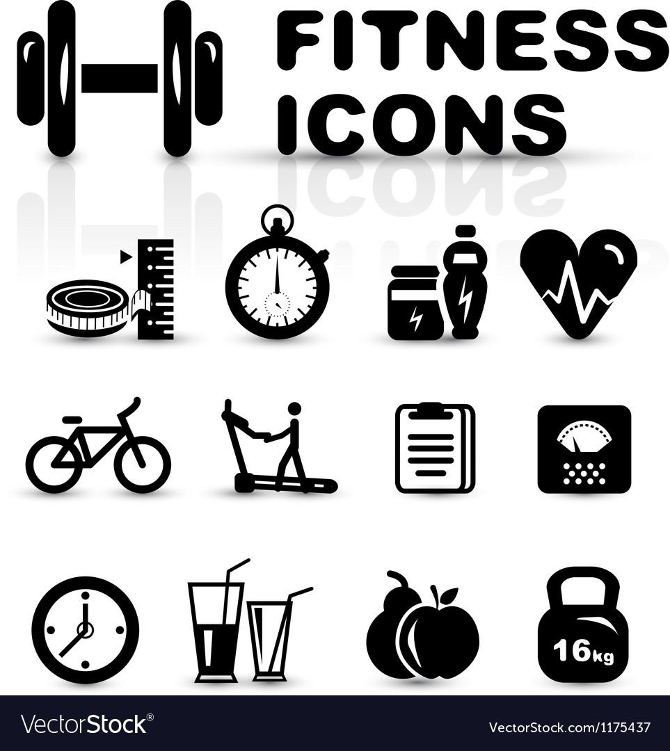 Black fitness icon set vector | Price: 1 Credit (USD $1)
