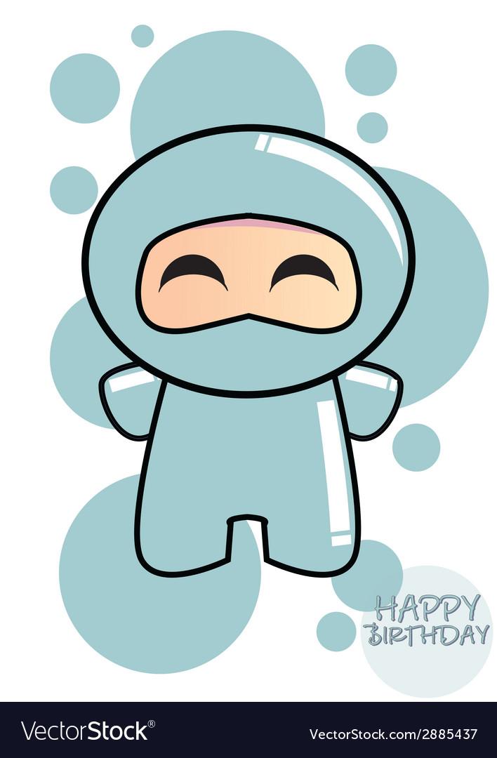 Happy birthday card with cute cartoon ninja vector | Price: 1 Credit (USD $1)