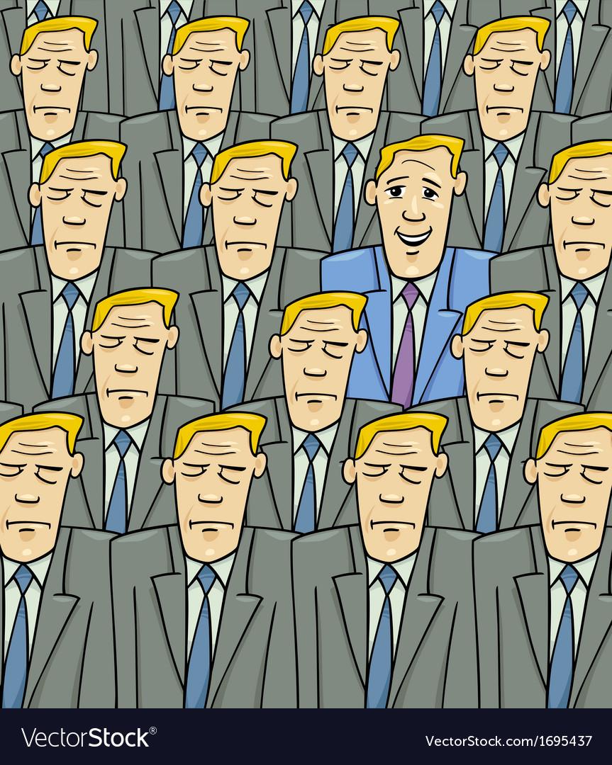 Happy man in the sad crowd vector | Price: 1 Credit (USD $1)