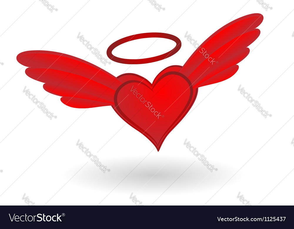 Heart with wings and halo vector | Price: 1 Credit (USD $1)