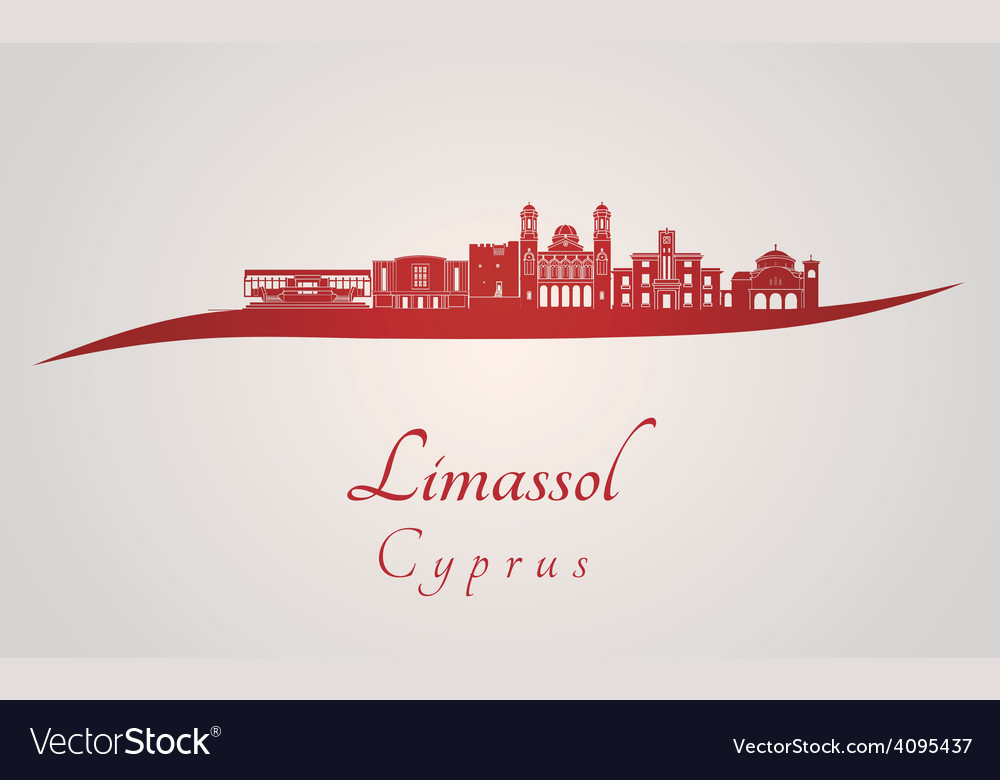 Limassol skyline in red vector | Price: 1 Credit (USD $1)