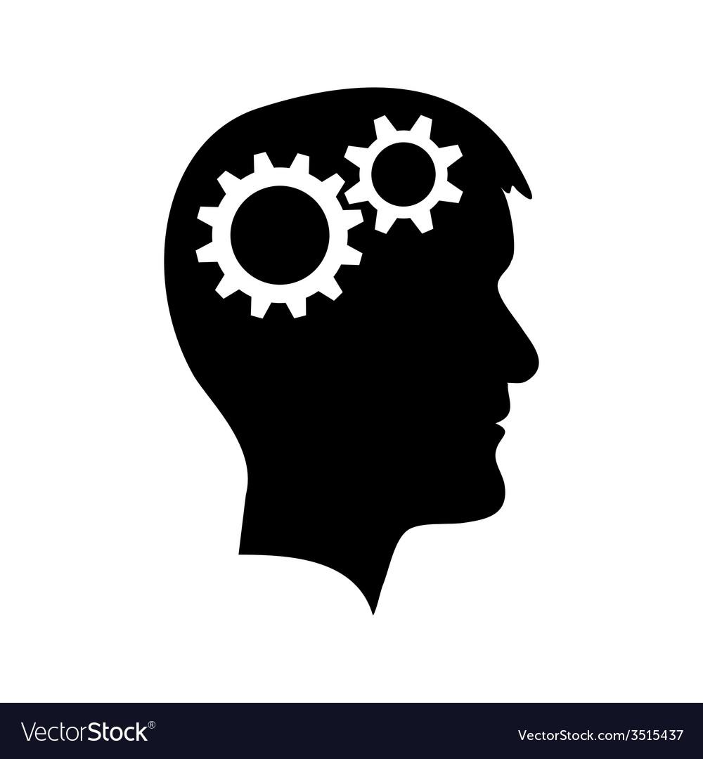 Man head with gear wheel vector | Price: 1 Credit (USD $1)