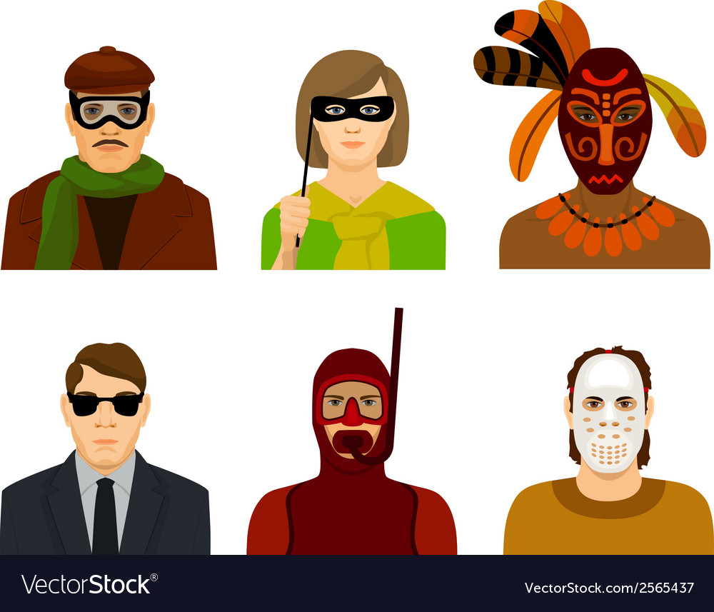 People in masks and glasses vector | Price: 1 Credit (USD $1)