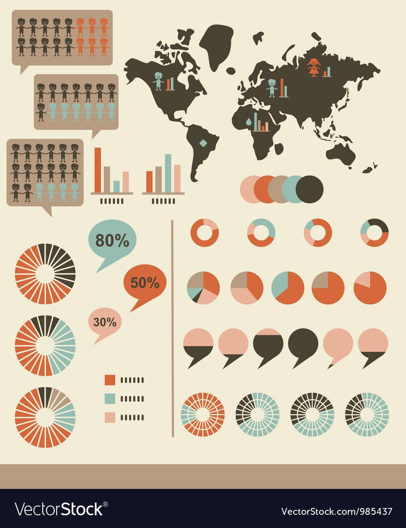 Retro infographics and ui elements vector | Price: 1 Credit (USD $1)