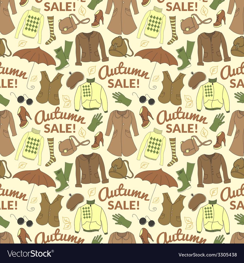 Autumn sale seamless pattern with season women vector | Price: 1 Credit (USD $1)
