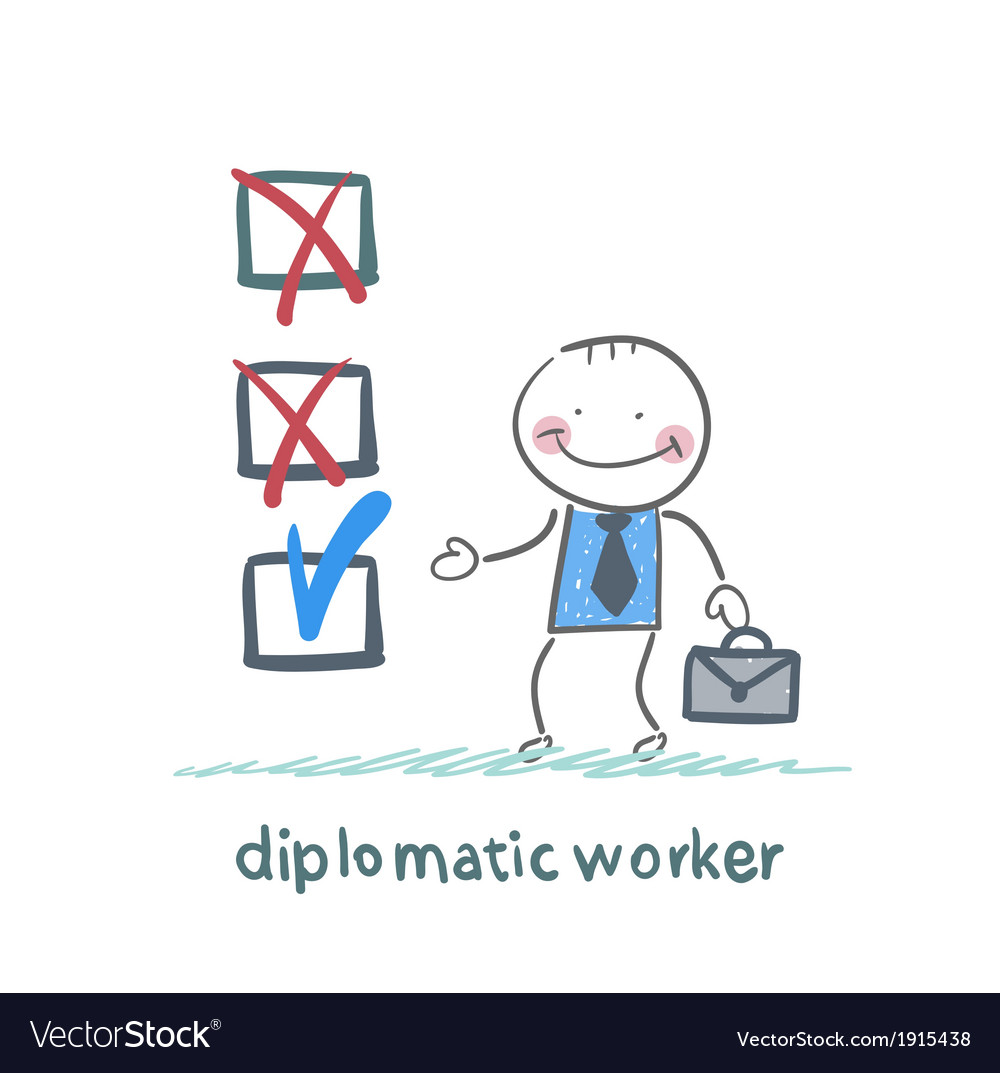 Diplomatic worker puts a tick vector | Price: 1 Credit (USD $1)