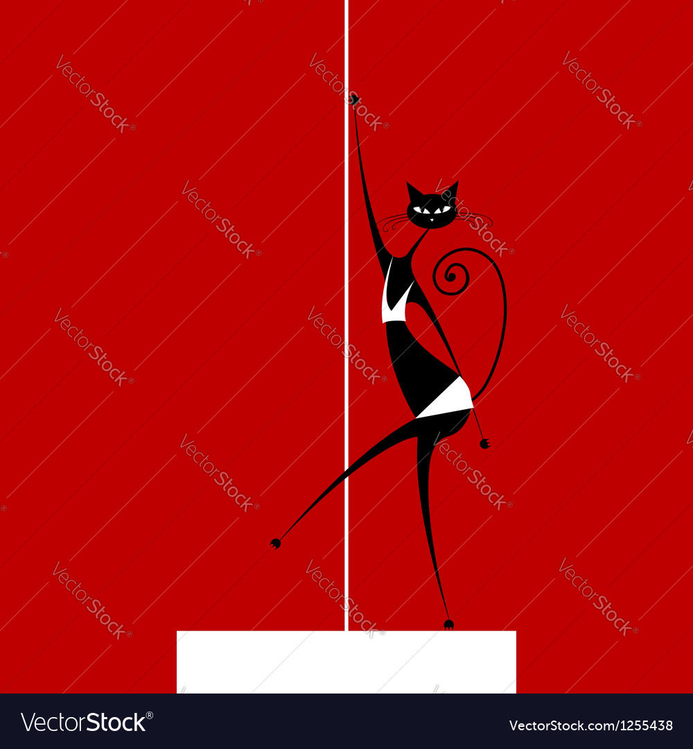 Graceful cat dancing for your design vector | Price: 1 Credit (USD $1)