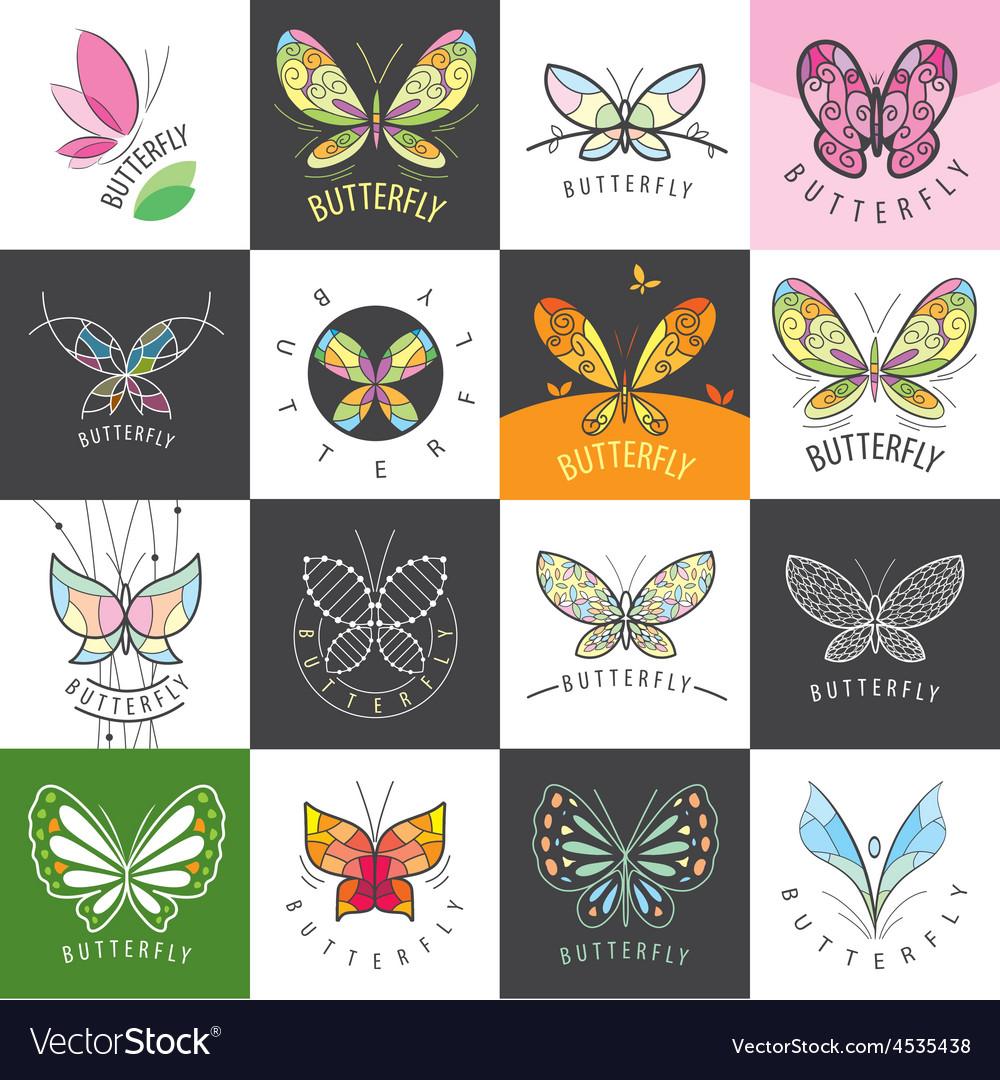 Large set of logos butterflies vector