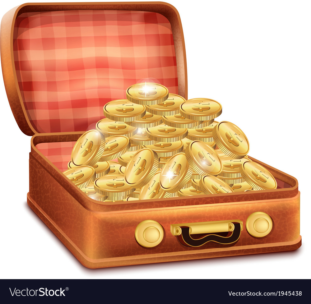 Open suitcase with gold coins vector | Price: 1 Credit (USD $1)