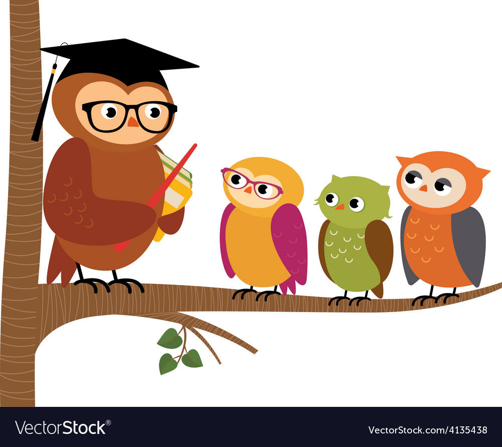 Owl teacher and his students vector | Price: 1 Credit (USD $1)