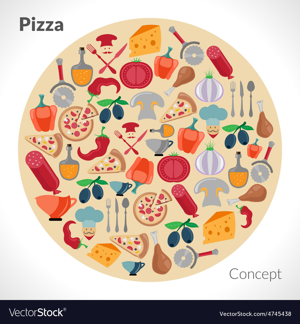 Pizza circle concept vector | Price: 1 Credit (USD $1)