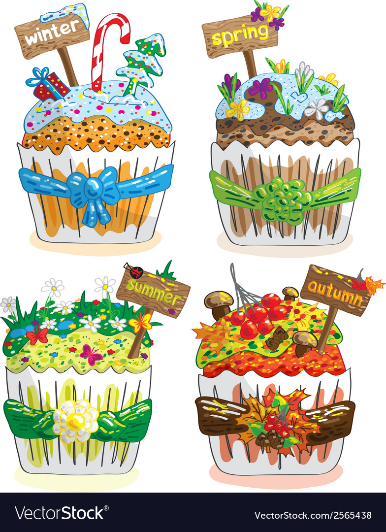 Seasons cupcakes on a white background vector | Price: 1 Credit (USD $1)